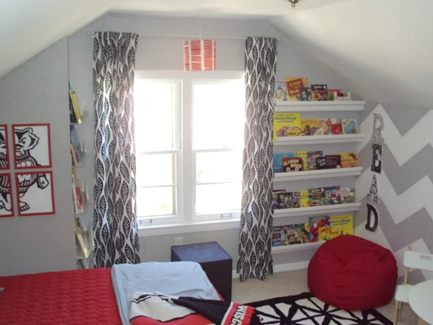 Boy's Bedroom - Red and Gray with Chevron Wall and Gutter Bookshelves