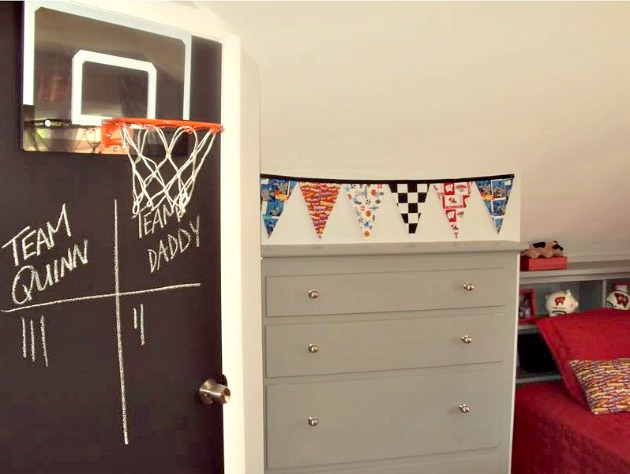 Boy Room - Red and Gray, Chalkboard Door, Basketball Hoop, No Sew Fabric Bunting