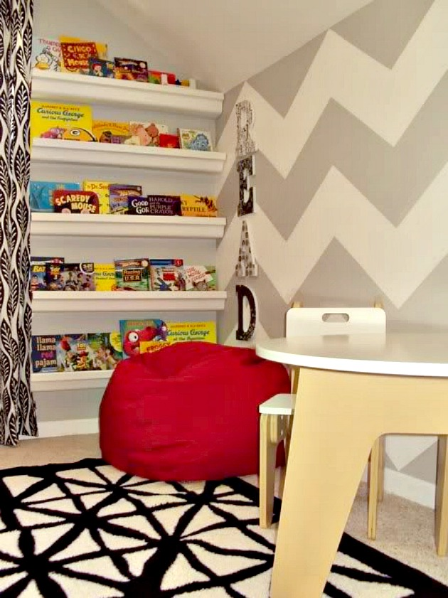 Boy Room - Red and Gray with Chevron Wall and Gutter Bookshelves