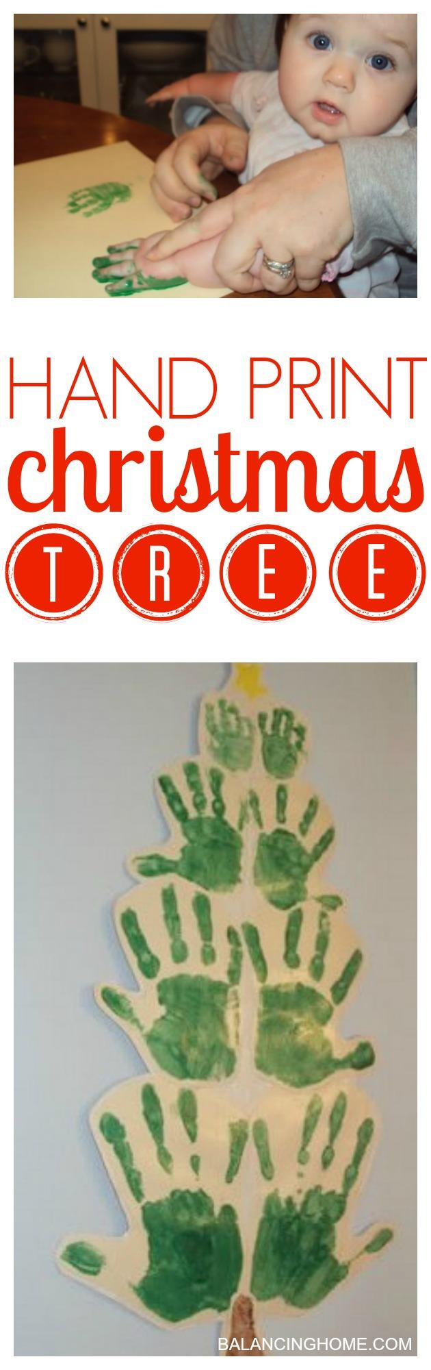 hand print Christmas tree- a super fun family Holiday craft.