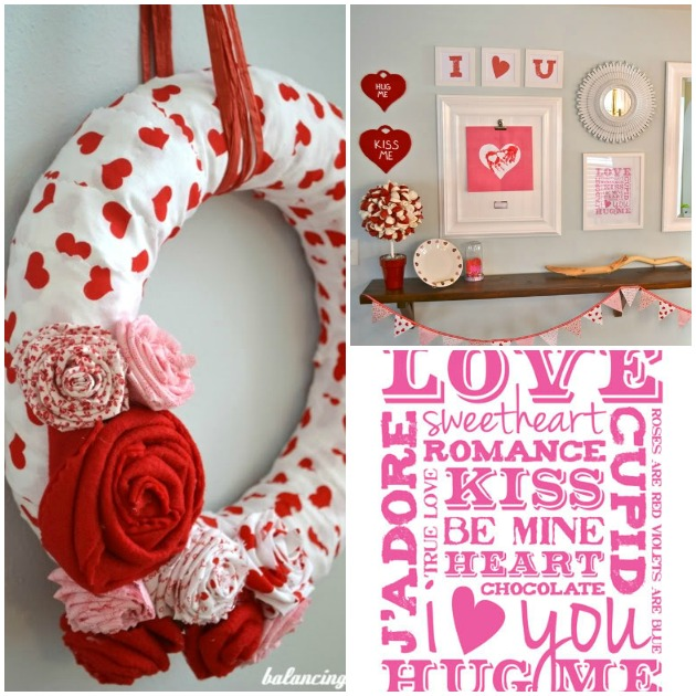 Valentine's Day Collage With DIY Wreath, Fabric Flowers, Printable and Mantle