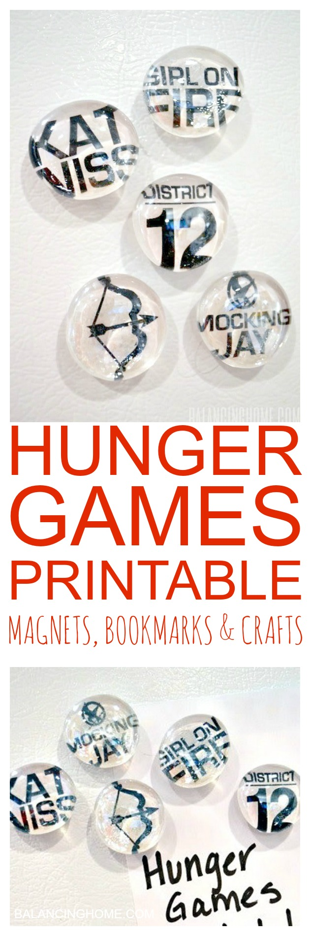A Hunger Games printable-- perfect for DIY magnets, bookmarks and other crafts.