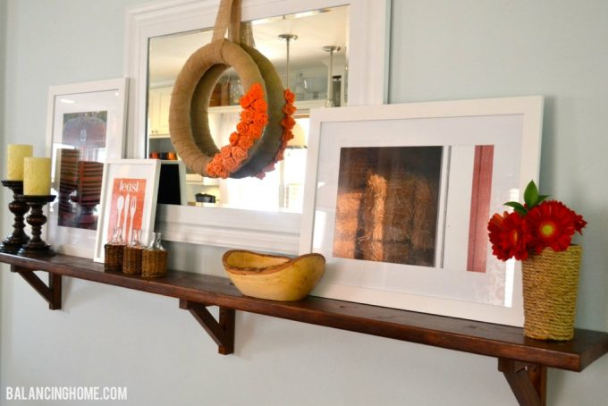 Fall Mantle w/fall photography, printable, DIY Rope Vase and Wreath