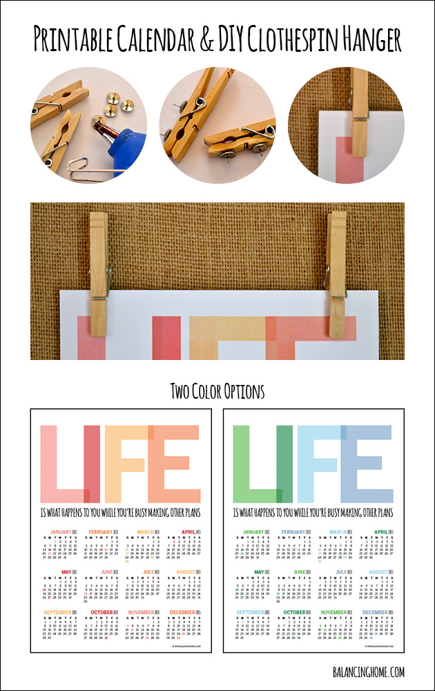 2013 Printable Calendar with 2 Color Options & DIY Clothespin Hanger