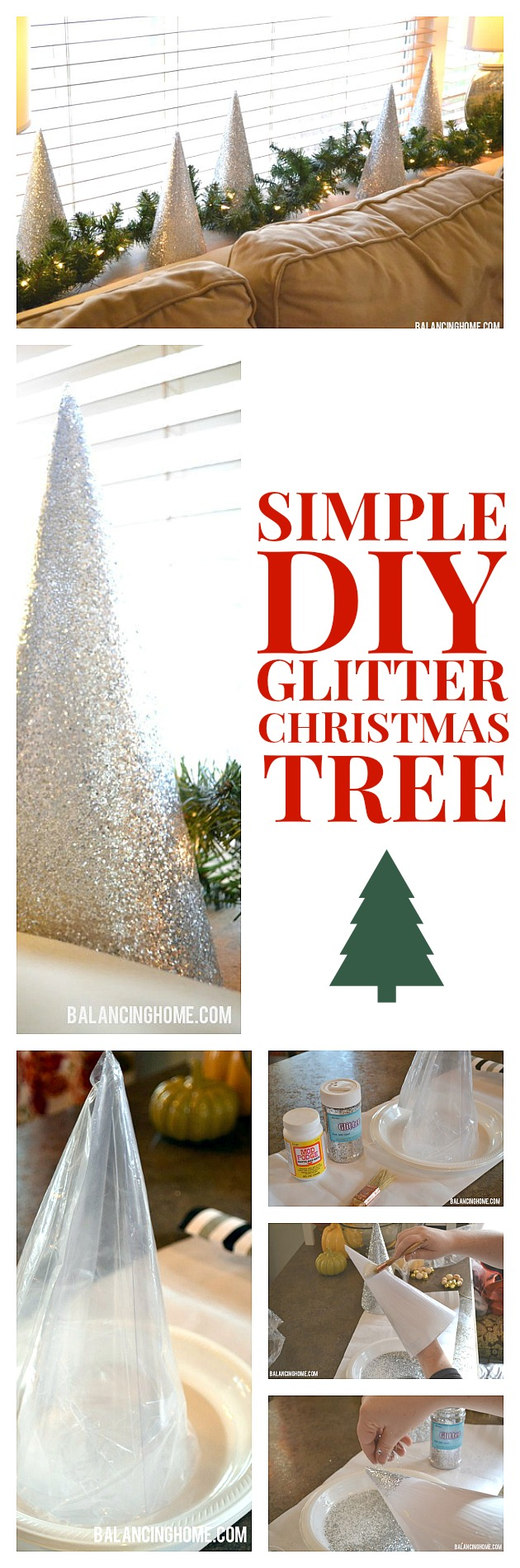 So simple--the kids could do it. DIY glitter Christmas tree for a fraction of the cost.