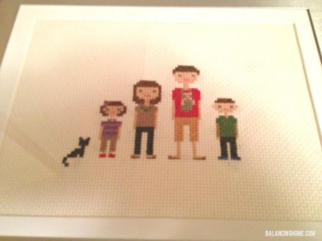 Family Cross Stitch Present