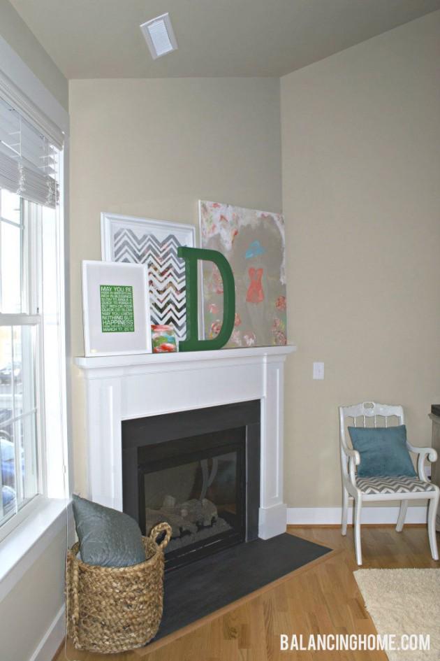 Mantle with DIY Art Work