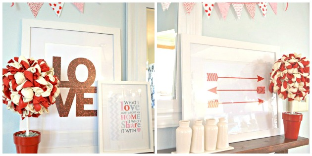 Valentine Mantle Shelf With Arrow Printable, Red Arrow Printable & DIY Balloon Topiary