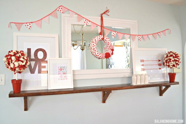 Valentine Mantle Shelf with Printables & DIY Projects: wreath, balloon topiary, fabric bunting