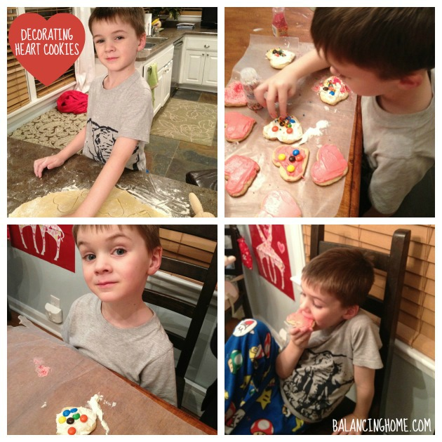 Valentine's Day Family Style- Decorating Heart Cookies