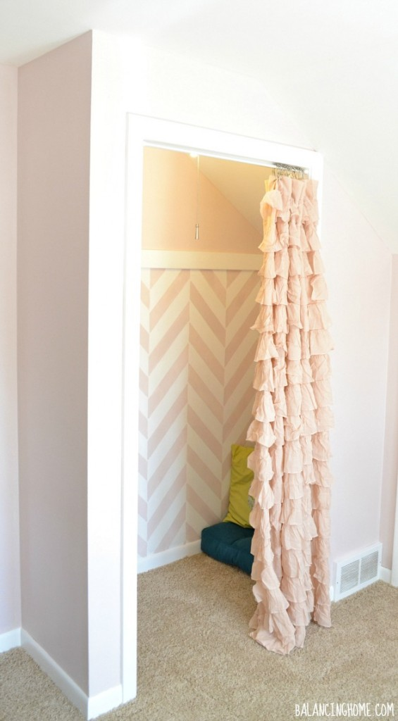 Closet to Reading Nook- herringbone stencil & gutter bookshelves #biggirlroom