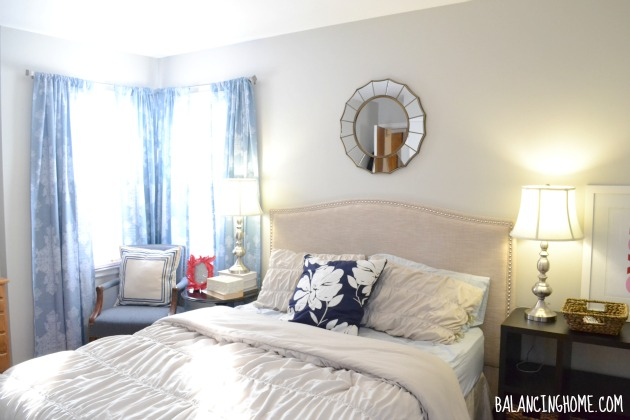 Master Bedroom Progress with Mismatched Nightstands