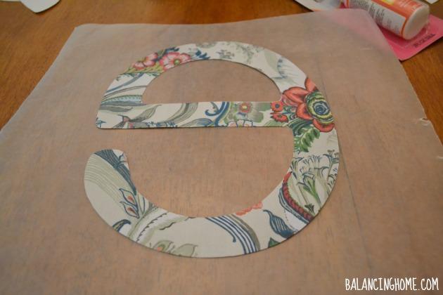 Letter Pillow via Mod Podge Photo Transfer