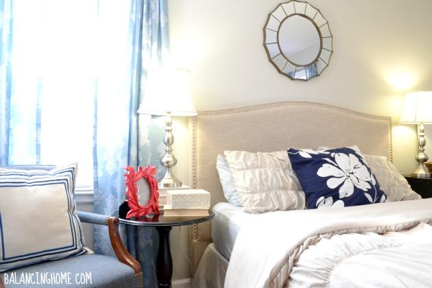 Master Bedroom Progress with Mismatched Nightstands