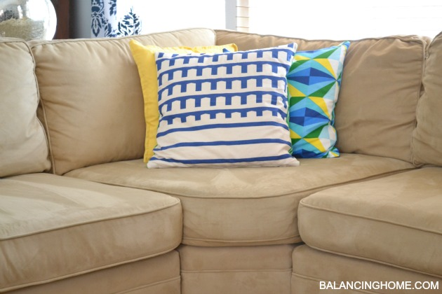 Blue, Green U0026 Yellow Living Room With DIY Stenciled Drapes, Pottery Barn  Pearce Sectional