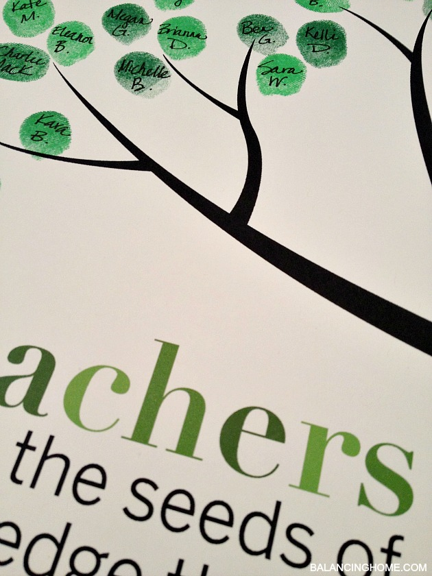 Classroom Fingerprint Tree- perfect gift for teacher appreciation or the end of the year. Free printable from https://www.balancinghome.com