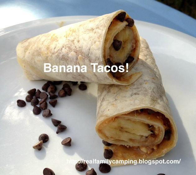 Banana Taco Recipe- Perfect for camping with kids. Simple, easy and yummy :)