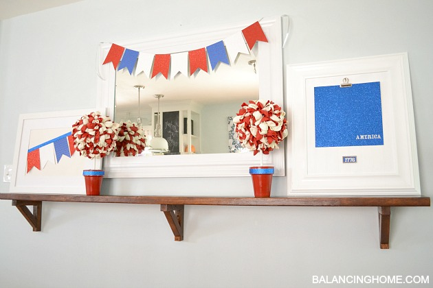 All DIY mantle with American Crafts glitter paper and tape and balloon topiary
