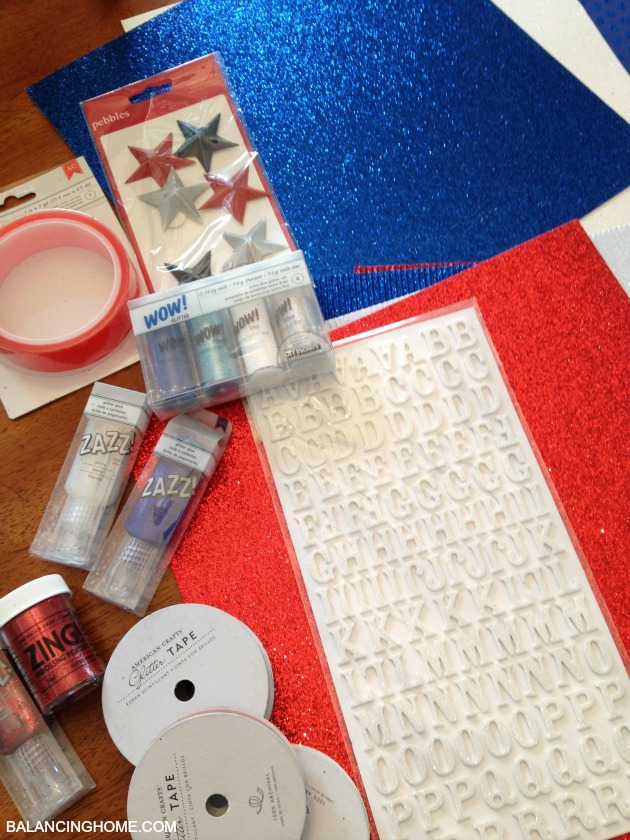 Fourth of July Mantle with American Crafts Glitter Paper and products