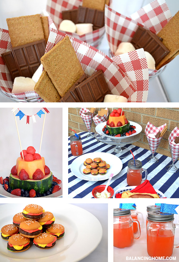 Summer Fun! Dying over those mini hamburger cookies and what a fun way to serve fruit and summer's must-have dessert--S'mores!