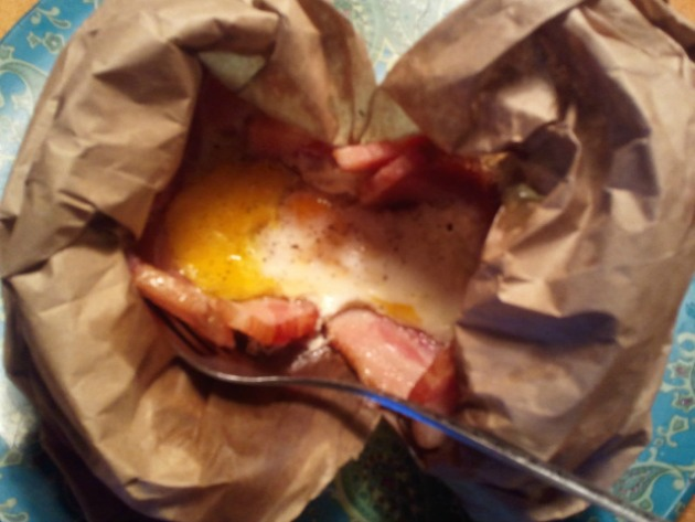 Paper Bag Eggs-- AKA bacon and eggs when camping