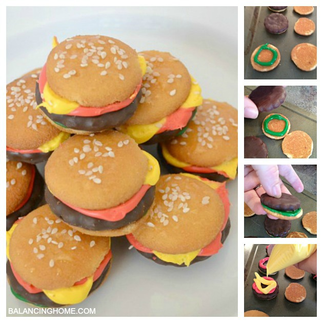These mini hamburger cookies are so easy to make and super tasty. Perfect for a summer BBQ