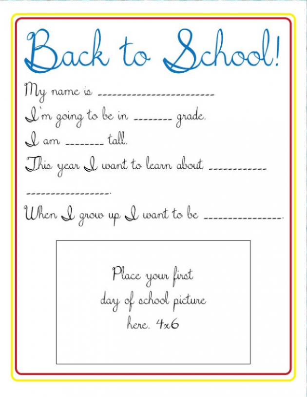 Back to School Survey Printable