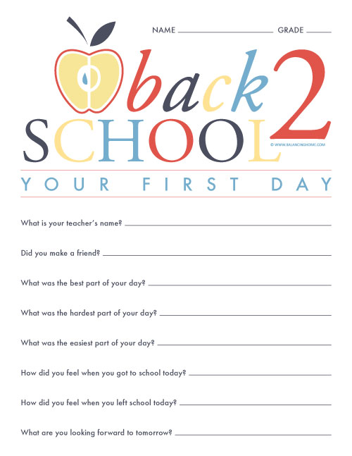 Back To School- Your First Day Questionnaire Printable