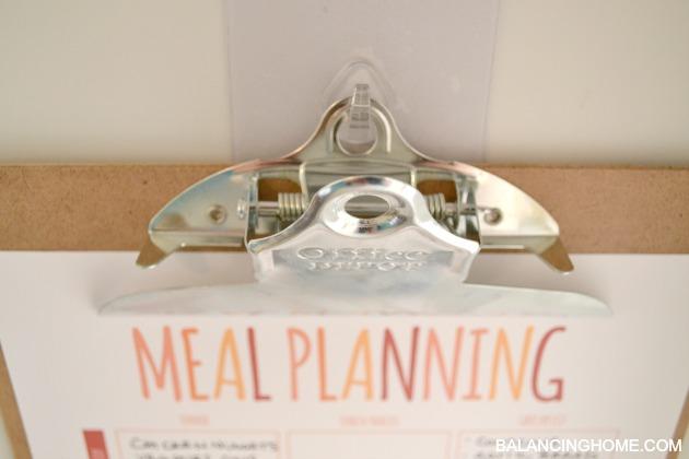 Meal Plan Printable and reusable hooks