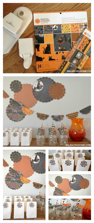 Halloween drink & goodie station using Martha Stewar supplies