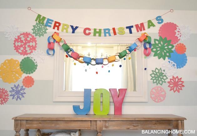 colorful handmade kindergarten chic Christmas - A Kindergarten Chic, Handmade, Colorful Christmas - Balancing Home